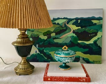 Vintage Pottery Footed Compote with Lid, Catchall, Jewelry Holder, Teal Blue Green with Gold Detailing, Made in Italy