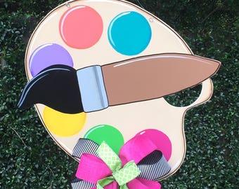 Paint Palette Door Hanger, Artist Paint Palette, Art Class Door Hanger, Back To School, Teacher Gift