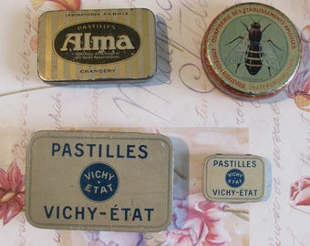 Vintage French set of four old sweet tins Pastilles Vichy Etat.