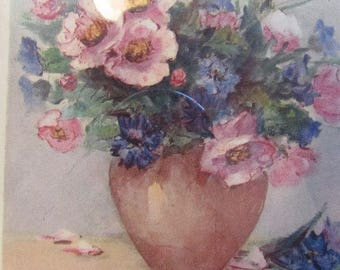 Antique, vintage French pair of old framed pictures. Flowers, bouquets in vases