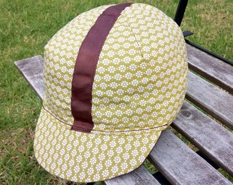 Cycling Cap - Green and white flower pattern with dark brown trim