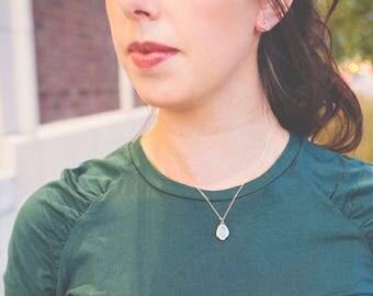 White Opal Necklace - White Opal - 14 Karat Gold Necklace 14k Gold - White Opal Stone Necklace