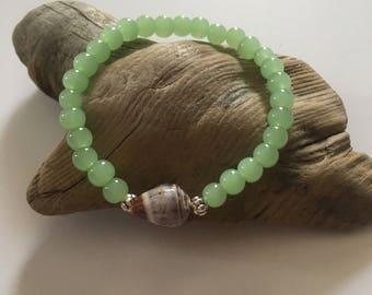 Seashell Jewelry … Beaded Shell Bracelet ... Yoga Stretch Bracelet (1607)