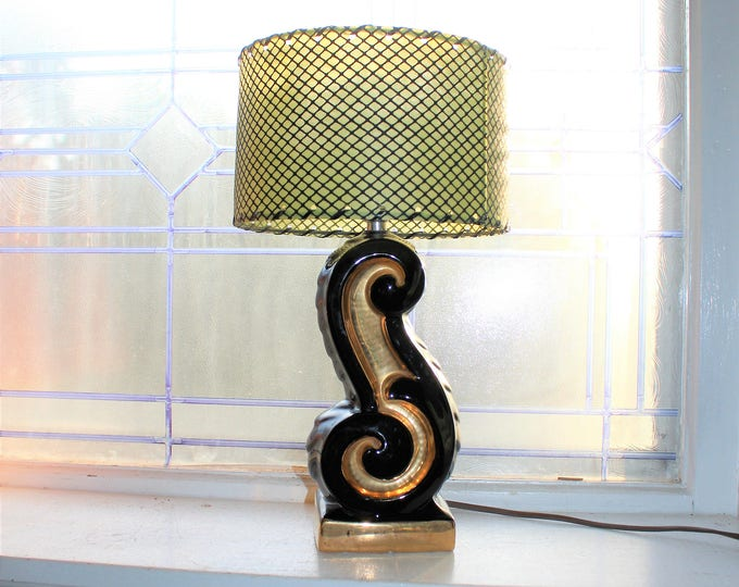 Vintage Small Accent Lamp Mid Century Black and Gold 1950s