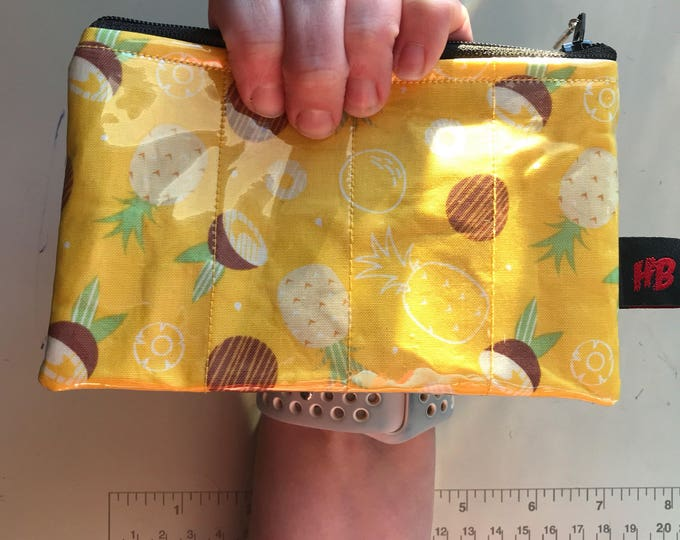 Zippered Pouch - Tropical pineapple and coconut coin purse/change purse