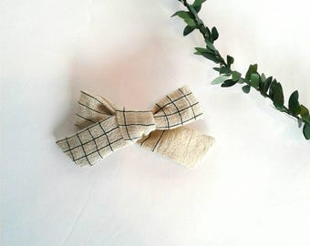 Plaid cream girls hair bow clip girls vintage modern