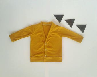 Mustard cardigan boys girls modern child sweater light jacket