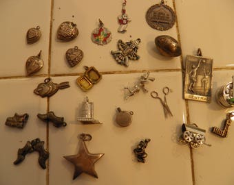 24 Sterling Silver Charms Lot.