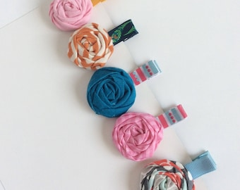 GRAB BAG 5 Baby girl hair clip grab bag baby hair clips toddler hair clips ~ flower hair clips~ twisted flower hair clips clips for girls