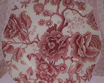Johnson Brothers English Chippendale Salad Plate ~~ Red/Pink Transferware ~~ Johnson Brothers Dishes # 103232