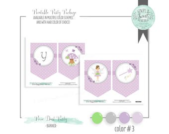 Pixie Fairy Birthday Party DIY printable Banner. HAPPY BIRTHDAY with images for pixie mushroom wand. Multiple color options