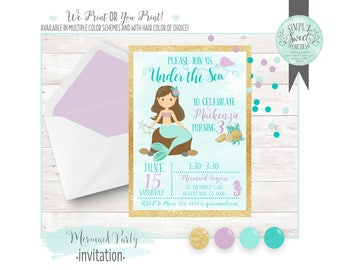 Mermaid INVITATION Birthday Party 5x7 invite. Gold and mint mermaid multiple color accents & hair of choice! We-print OR you-print pdf JPEG