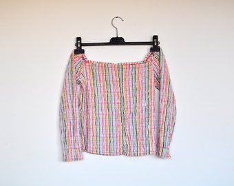 Vintage Colorful Striped Crinkled Stretchy Off Shoulders Long Sleeve Blouse