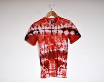NOS Vintage Designer Orange and White Tie Dye Batik T Shirt