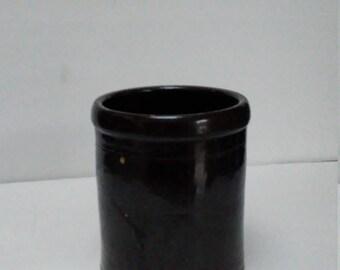 Vintage Stoneware Crock Dark Brown Banded Utensil Holder