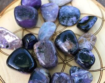 Polished tumbled Charoite, magical crystal, wire wrap, purple crystal, chakra crystal, meditation,earthy crystal, third eye chakra