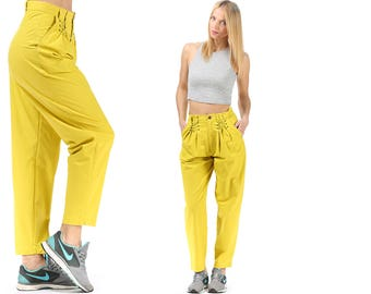High Waist Trouser 80s Loose Pants Fluorescent 1980s Tapered Yellow High Waisted Pleated Corset Strap Cotton Women Pants size Medium W 28
