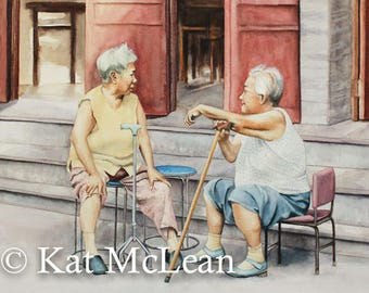 Watercolor - Sit and Chat Awhile - Print on Paper