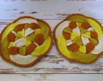 Set of 2 Hand Crocheted Knot Design Trivets Hot Pad