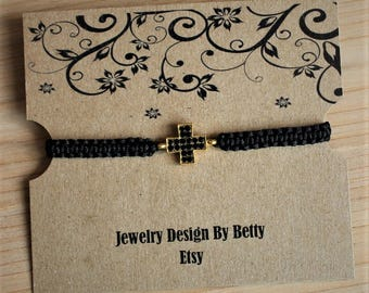Cross Bracelet Faith Bracelet Inspirational Black Macrame Bracelet Friendship Bracelets Religious Bridesmaid Jewelry Accessories
