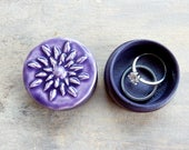Amethyst Purple Flower Ring Box Fancy Pill Box Wedding Anniversary Small Handmade Keepsake Jewelry Holder Lotus Flower Spiritual Yoga Gift
