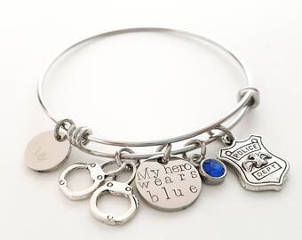 Police Wife Bracelet - Police Bracelet - Police Girlfriend Bracelet - My Hero Wears Blue - Police Jewelry - Cop Bracelet - Handcuffs