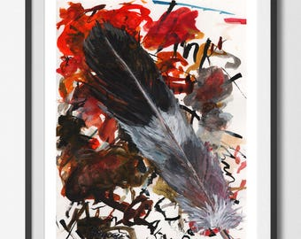 Day 022  PIGEON Feather A3 Large ART PRINT Home Decor Living room Nursery Dinning room By The Urban Tiger
