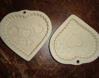 2 Vintage Superstone Heart Shaped Cookie Molds in Mint Condition complete with instruction manual and recipes to bake valentine cookies