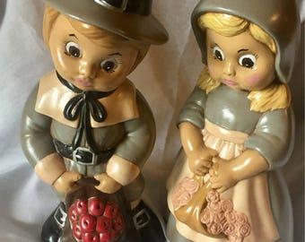 Vintage Hand Painted Pilgrim Pair Large Figurines