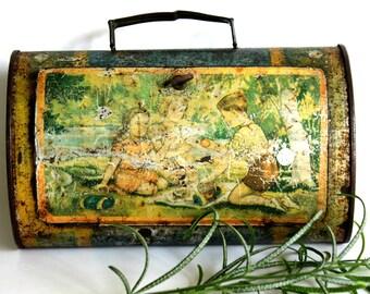 antique lunch box or vasculum, tin lithographed tin, 1900's tin box, botanical collection drum, 1900's botanical tin