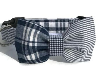 Navy and White Dog Collar and Bow Tie Set in Madras Patchwork Plaid