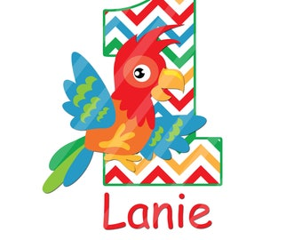 Parrot Birthday Number Printable Digital Download Image for iron-ons, heat transfer, DIY YOU PRINT