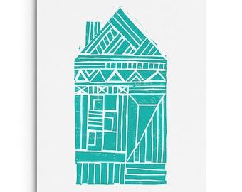 Shotgun House with Geometric Patterns - Wall Art - House Illustration- Digitally Printed Wall Decor - Giclee Print - Black, Bright Turquoise