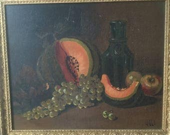 """French vintage Painting, 19th Oil on canvas, hand painting """"nature morte"""" Fruits"""