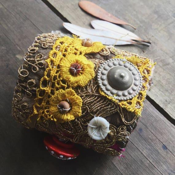 Boho embroidered cuff, textile cuff bracelet, embellished cuff, Boho gypsy cuff,  embroidered cuff, sari border, bohemian bracelet