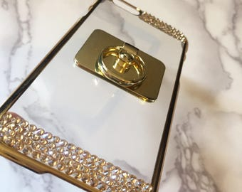 Iridescent Gradient Pink Gold AB Rainbow Pink Black Diamond Clear Chrome Frame Case Made w/ 100% SWAROVSKI Elements Crystal iPhone 7 PLUS 6S
