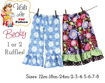 Becky Girls Ruffle Pants Pattern, Ruffle Capris Pattern. Girl's Sewing Pattern. pdf Pattern, Infant -Toddler Sewing Pattern, pdf Download