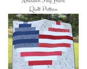 American Flag Heart Quilt Pattern, Independence Day Quilt Pattern, Easy Beginner Quilt Pattern, Easy Strip Quilt Pattern American Flag Quilt