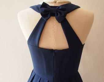 Love Potion - Navy Cocktail Dress Navy Bridesmaid Dress Prom Dress Backless Dress
