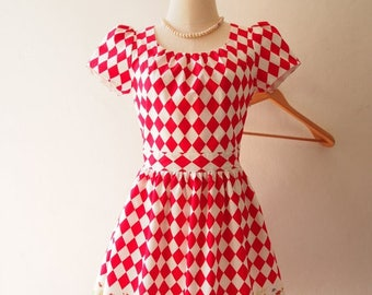 Mid Year SALE Size S- Alice in Wonderland Love Spell with Sleeve Dress Red Tea Party Summer Casual Midi Print Dress