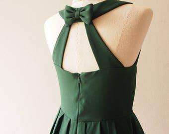 LOVE POTION - Party Dress Green Vintage Prom Dress Forest Green Dress, Green Midi Dress, Bachelorette Audrey Hepburn dress