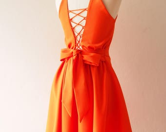 Tangerine Party Dress Orange Evening Dress Prom Homecoming Dress La La Land Dress Swing Skirt Dancing Dress Cross Rope Low Back Dress