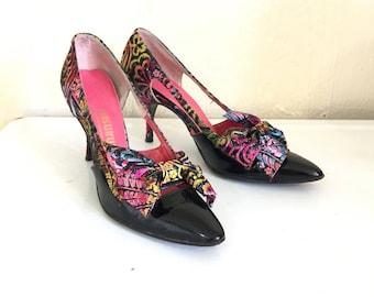 Vintage 1950s Stiletto Heels Black Patent Leather Confetti Brocade 7 Narrow