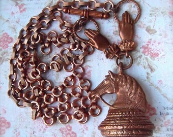 Horse Head,Large Horse Head,Gingerbread Patina,Horse Pendant,BSue by 1928,Copper Plated Chain,MockiDesigns,Gift Wrapped,Long Toggle Necklace