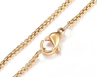 "Gold Plated 304 Stainless Steel Cross Chain Necklace with Lobster Claw Clasp - 15.7""(40cm) long"