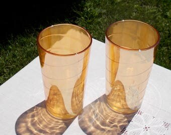 Set of TWO Jeannette Glass Co Carnival Glass YELLOW Gold Tumblers