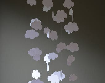 Cloud mobile / nursery mobile / baby mobile made from white card stock -- Handmade mobile, nursery decor of baby gift