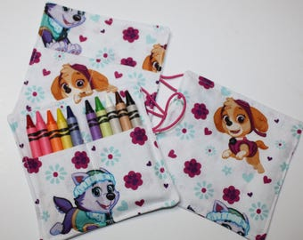 CUSTOM 15 Paw Patrol Pups, Everest & Skye, Birthday Party Crayon Rolls Party Favors, made from Paw Patrol Pups fabric, Birthday Party Favor