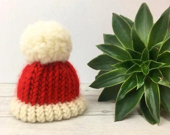 Christmas tree topper, Santa hat, knit accessories, novelty Christmas decorations, knitted tree topper alternative tree decorations mini hat