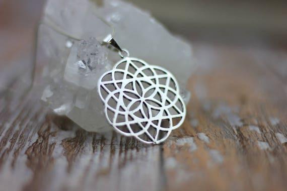 FLOWER OF LIFE - Mandala Necklace - Sacred Geometry -Spiritual Jewelry -Seed of life Necklace -Silver Jewellery- Tribal -Gypsy -Meditation